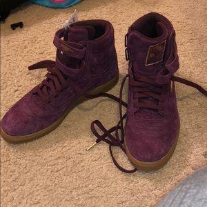 Puma sky burgundy purple gold tan hightop sneaker